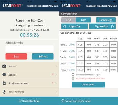 Screenshot af App til timeregistrering