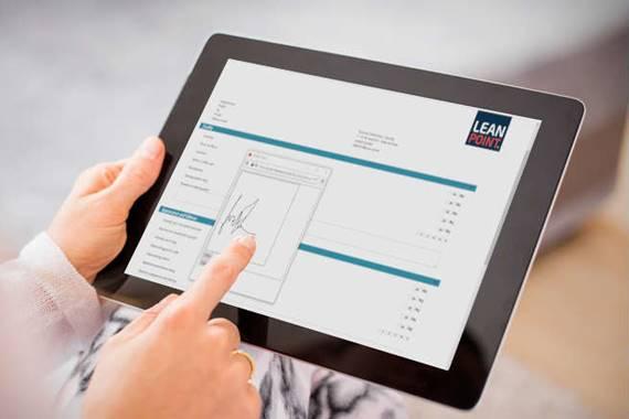 Elektronisk kvittering på en tablet