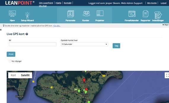 GPS tracking på landkort