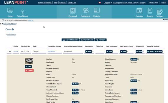Fleet management screenshot