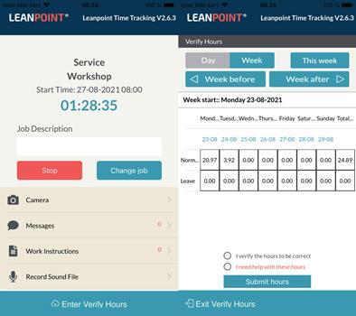 App til time tracking screenshot